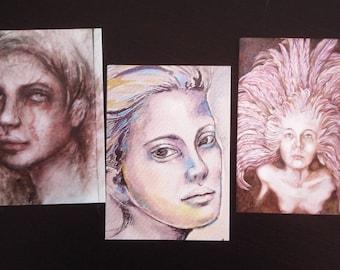 Lot 3 x Carte postale Portrait
