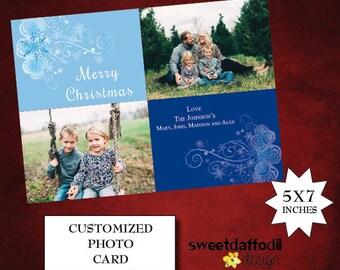 Snowflake Photo Christmas Greeting Card