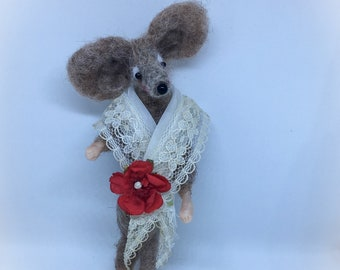 Needle Felted Mouse - Vintage Ooak Mice/Mouse Art Doll