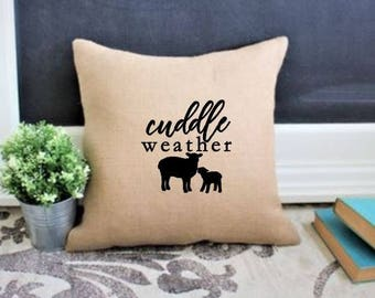 Winter pillow decor 18 x 18, Christmas Pillow decor, Cuddle sign, Modern farmhouse winter decor, Country Christmas decoration, burlap decor