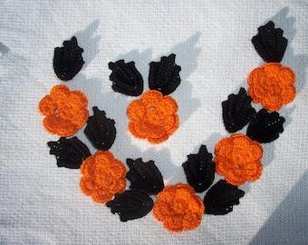 6 handmade orange cotton thread crochet applique roses with black leaves -- 2707