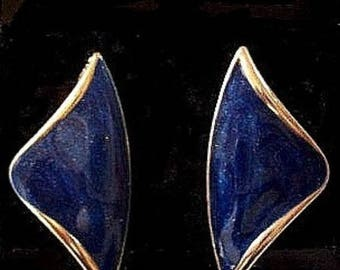 Blue Marbled Pearl Arrow Pierced Post Stud Earrings Gold Tone Vintage Fancy Striped Edge