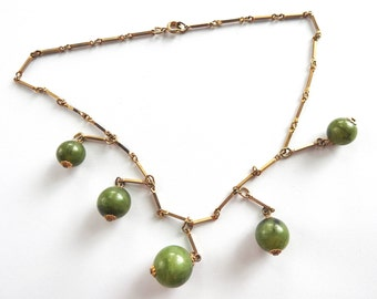 1960s Mod Green Plastic Dangle Bead Gold tone Necklace