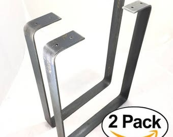 2 Pack Square Rustic Reclaimed Metal Coffee Table bench Legs, Steel Rectangle forged Brackets, Modern bracket Storage Strap Angle seat iron