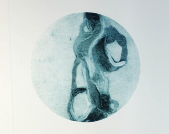 Garland of the Future #1 - monotype carborundum collagraph art - blue art - tiny art - ooak - printmaking gift - small art for bedroom
