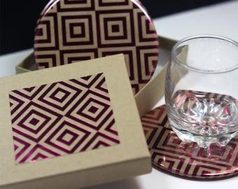 Magenta Foil Pattern Round Drink Coasters -Set of 4