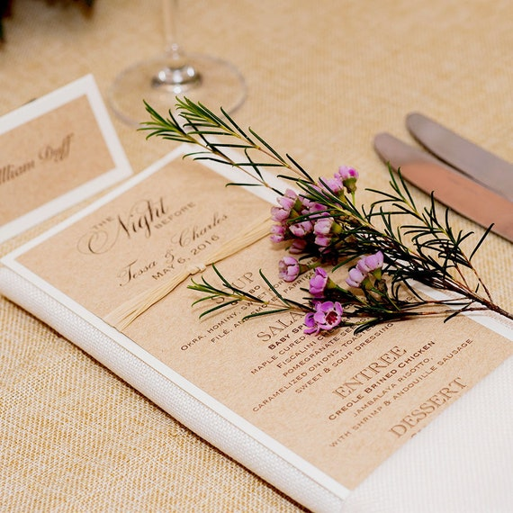 25 Pack of Rustic Wedding Menu - Burlap Menu - Kraft and Ivory Menu with Raffia Ribbon - Customizable
