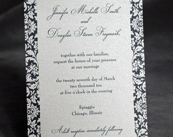 Damask Wedding Invitation - Black and White
