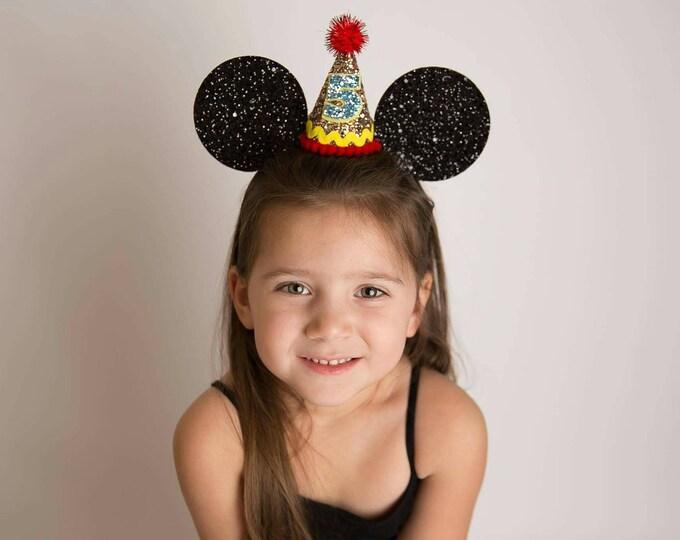 Glittery Mouse Ears Headband || Birthday Mouse Ears ||Mouse Headband|| Ears || Mouse Birthday ||