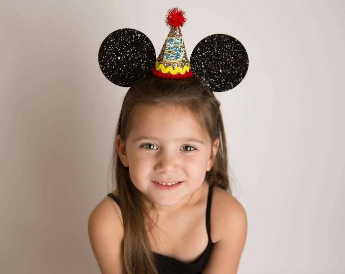 Glittery Mouse Ears Headband || Birthday Ears || Minnie Mouse Birthday || Minnie Mouse Headband || Minnie Ears || Mickey Mouse Birthday ||