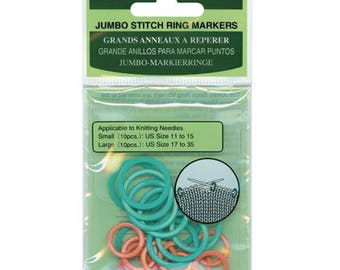 Jumbo Stitch Marker Rings for Knitting Solid Rings Two Colors Mixed Sizes for Sizes 11 to 35 20 pcs