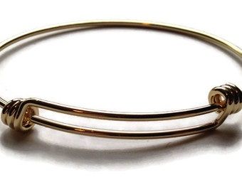 Gold Plated Adjustable Wire Bangle
