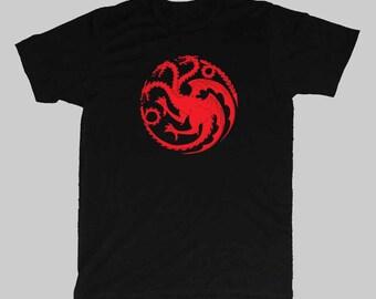 Game of thrones House Targaryen three headed dragon mens T-shirt