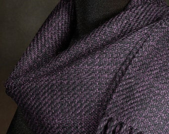 Dark purple scarf / black scarf / handwoven scarf / merino wool scarf / winter scarf / man's scarf / woman's scarf