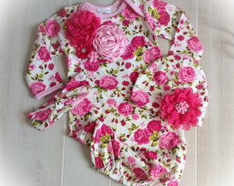 Newborn Girl Hospital Outfit, Newborn Girl Floral Gown, Baby Girl Take Home Outfit, Newborn Girl Layette, Girl Coming Home Gown