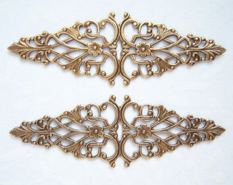 1 -Antiqued brass filigree bar -JY150
