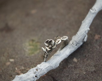Rustic Woodland Fine Silver Blossom Ring Size 5