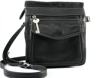 FOSSIL Crossbody Bag, Classic 1954, 75082, Shoulder Bag, Silver Key, Genuine Leather, Handcrafted, Pebbled Black, 1980s, Security, Excellent