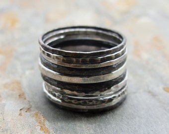 Set of 10 Mixed Antiqued Sterling Silver Stacking Rings - Black, White, and Gray Ombre Stacking Set