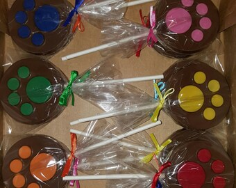 Paw Print Chocolate Lollipops - set of 12
