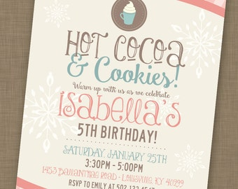PRINTABLE // Hot Cocoa & Cookies Party // January Birthday Party Invitation