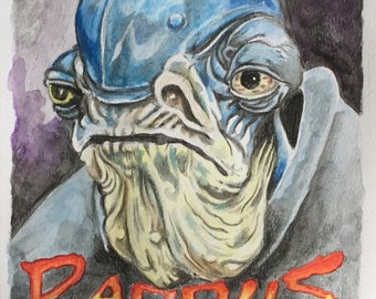Tribute to Admiral Raddus original watercolor signed by the artist Star Wars rogue one Charles State