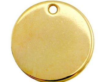 DQ metal Gravurplättchen, blank pendant-1 piece-gold-Zamak-Ø selectable (Ø:: 20 mm)