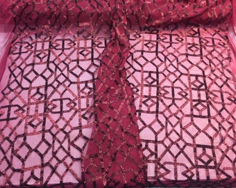 Matte Burgundy Geometric Sequins Embroider On A 2 Way Mesh-Fashion-Sold By Yard