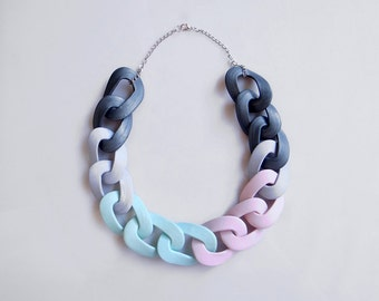 Chain Link Statement Necklace, Pastel Color Block Chunky Necklace in mint, grey, pink