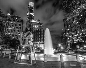 JFK Plaza, Love Sculpture, Philadelphia print, Philadelphia art, Philadelphia Skyline, Philadelphia poster, Philly print, Philly Art