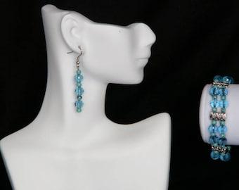 Aqua Blue Swarovski and Turquoise Jewellery Set