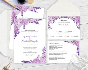 Wedding invitation download instantly-Printable wedding invitation suite-Purple-boho-Floral invitate-Editable color&text-You print-FEWS-T85