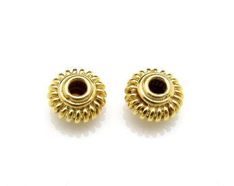 2 Pcs, 5.5mm, 24K Gold Vermeil Spacers