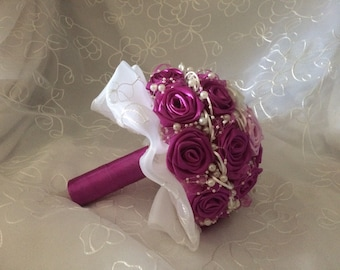 Handmade wedding bouquet of satin with beads