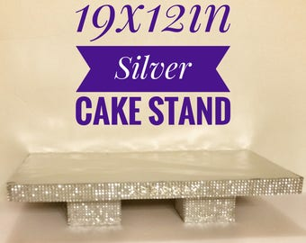 Silver 19x12in Square Cake Stand