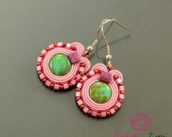 Colorful small soutache earrings, pink cute earrings, pink little dangle earrings, pink green boho earrings, fresh juicy colorful earrings