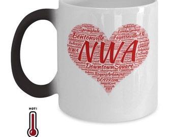 Arkansas Coffee Mug|Northwest Arkansas|Bentonville| Fayetteville AR|Eureka Springs|Heat Changing Mug|Color Changing Mug|