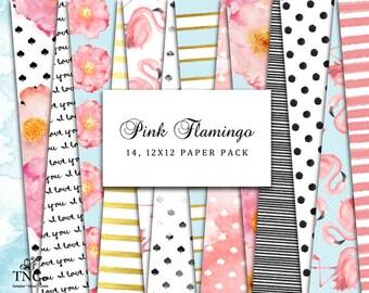 Flamingo paper - Digital Scrapbooking paper - Polka dot digital paper - Mint and Pink paper - Commerical use - Gold foil digital paper - MK