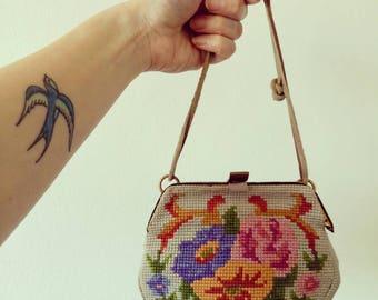 vintage 1940s Petit Point purse tapestry floral bag