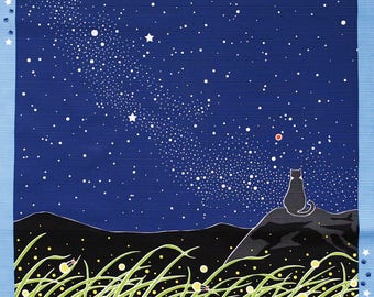 Cat Night Sky Milky Way Japanese Furoshiki Wrapping Cloth  Small  Price depends on order volume.