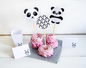 Panda Party Birthday Toppers, Panda Party Supplies, Panda Cupcake Topper, Panda Party Decor Printables, Panda Cake Topper - INSTANT DOWNLOAD