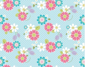 Blue and Pink Floral Dream and Wish Riley Blake Knit Fabric by the Yard