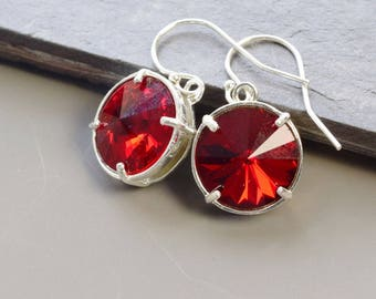 January Birthstone Earrings Silver Garnet Red Earrings January Birthstone Jewelry for Mom Birthday Gift Mothers Day Gift Mom Gift