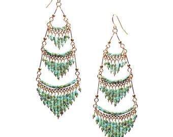 Green Turquoise Chandelier Earrings, Bohemian Chandelier Earrings, Green Dangle Earrings, Boho Earrings, Lightweight Earrings,