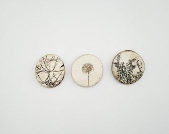 Set of Three Pressed Botanical Magnets (no 610)