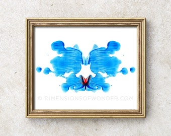 Rorschach PRINT, Rorschach ink blot, Rorschach art, psychology art, psychologist gift, psychology student, psychology poster, blue, red.