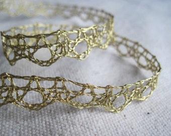 Metallic GOLD delicate lace trim