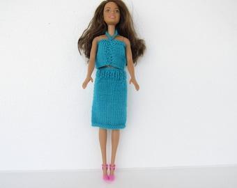 set up doll, skirt, dress doll, birthday gift, blue, 2 piece set poiur doll