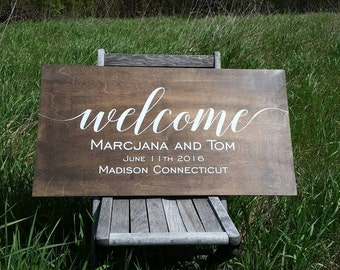 Welcome to Our Wedding Sign, Personalized Wedding Sign, Rustic Wooden Wedding Sign Wild Oaks 24x12