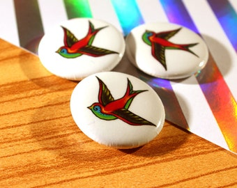 Retro Sparrow // 1 inch button